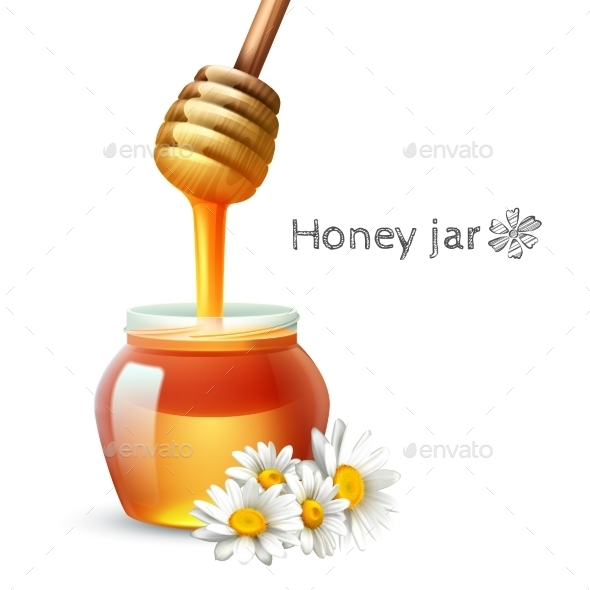 Honey Stick and Jar - Food Objects