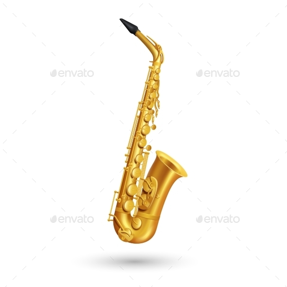 Golden Saxophone Illustration - Man-made Objects Objects