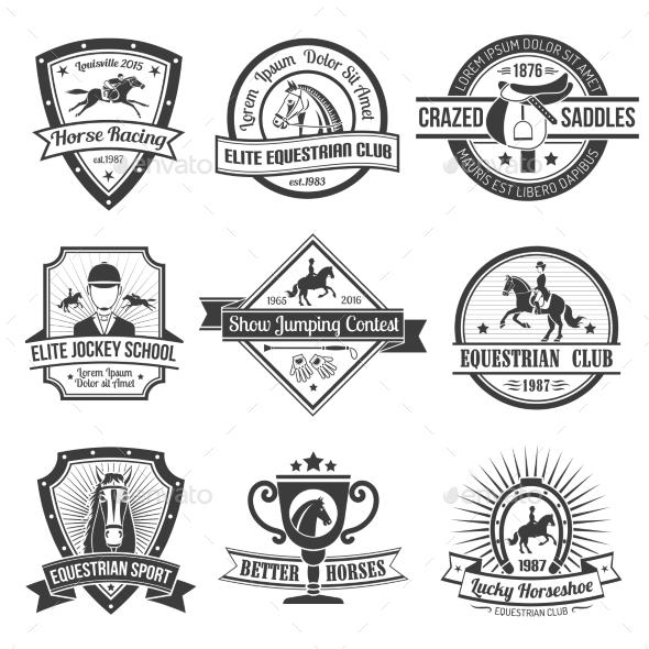 Equestrian Sport Emblems Set  - Decorative Symbols Decorative