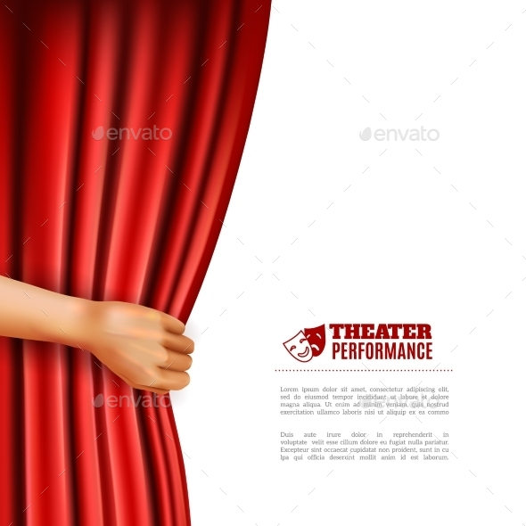 Hand Opening Theatre Curtain Illustration - Miscellaneous Conceptual