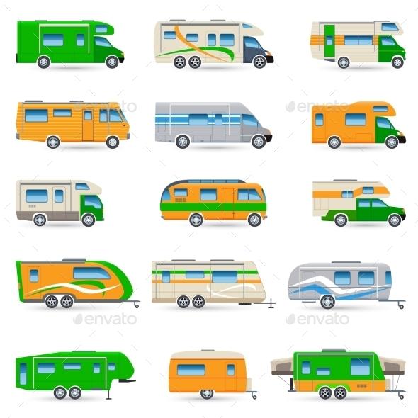 Recreational Vehicle Icons Set - Miscellaneous Vectors