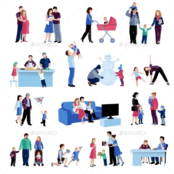 Parenthood Family Situations Flat Icons Set - Miscellaneous Conceptual