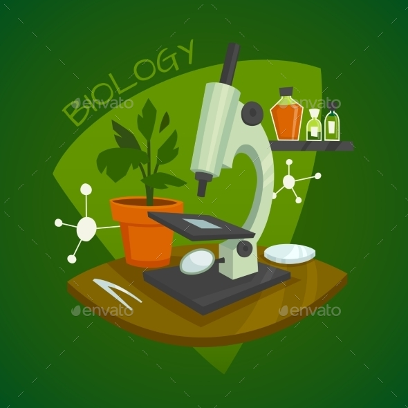 Biology Laboratory Workspace Design Concept - Decorative Symbols Decorative
