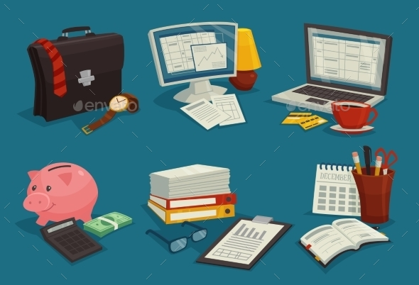 Business Cartoon Icons Set - Concepts Business
