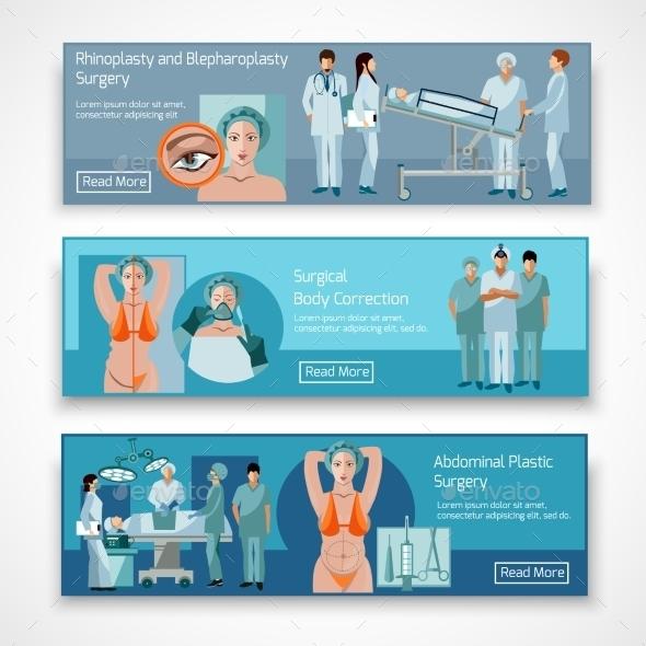 Plastic Surgery Concept 4 Flat Icons Square  - Health/Medicine Conceptual