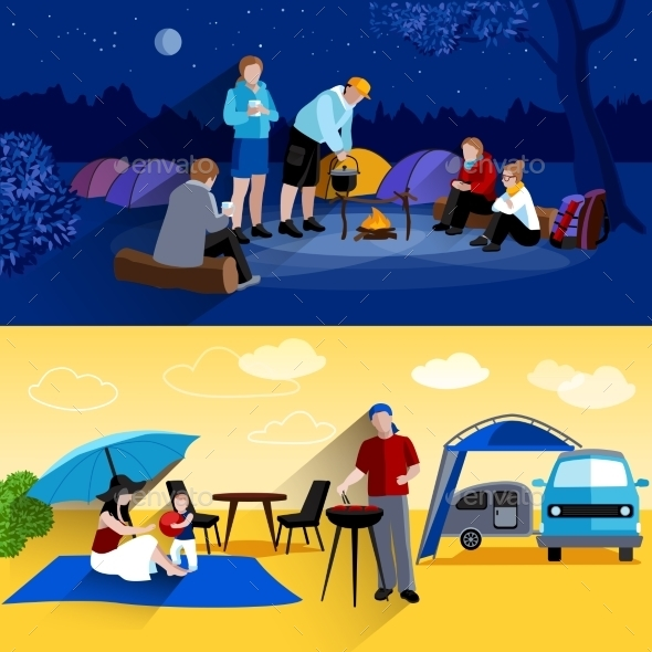 Camping Banners Set - Travel Conceptual