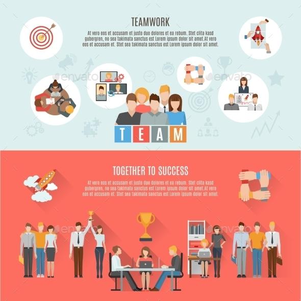 Teamwork Management Flat Horizontal Banners Poster - Concepts Business