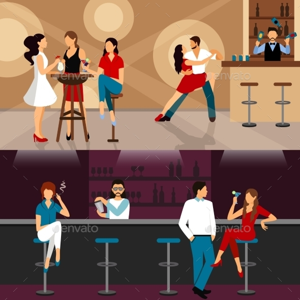 People Drinking In Bar - People Characters