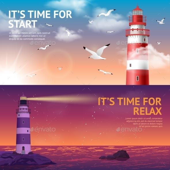 Lighthouse Banner Set - Landscapes Nature