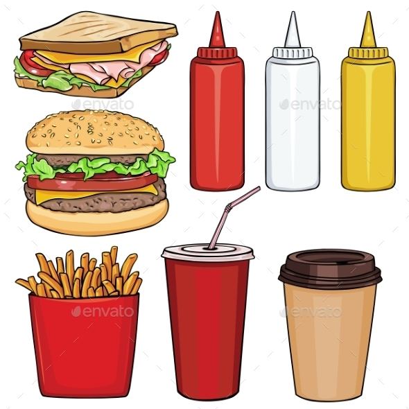 Vector Set Of Cartoon Fast Food Items - Food Objects