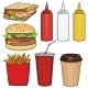 Vector Set Of Cartoon Fast Food Items - GraphicRiver Item for Sale