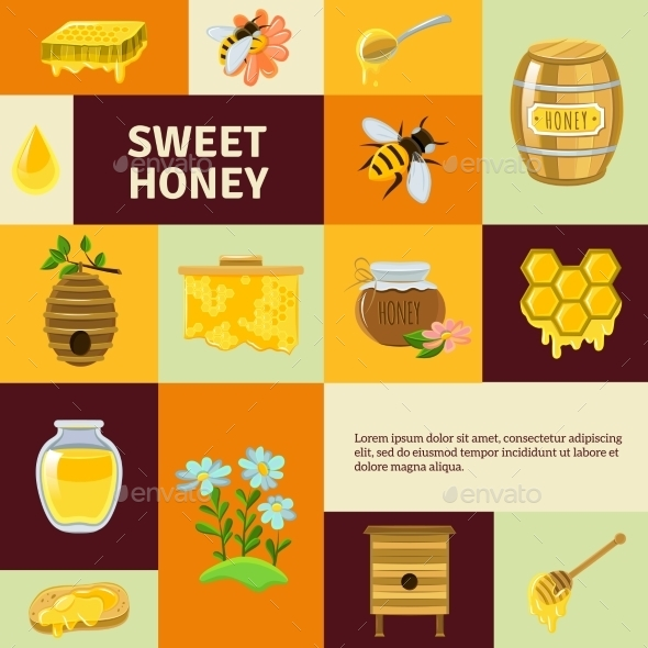 Sweet Honey Icons Set - Food Objects