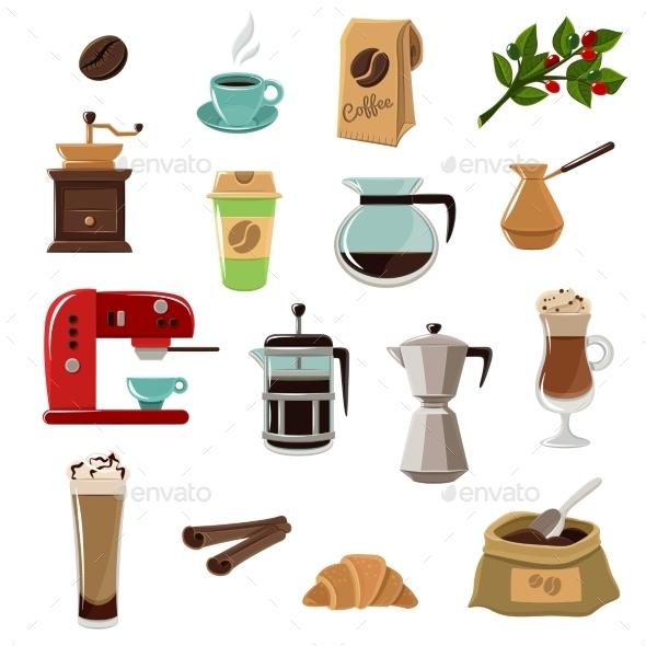 Coffe Retro Flat Icons Set - Food Objects