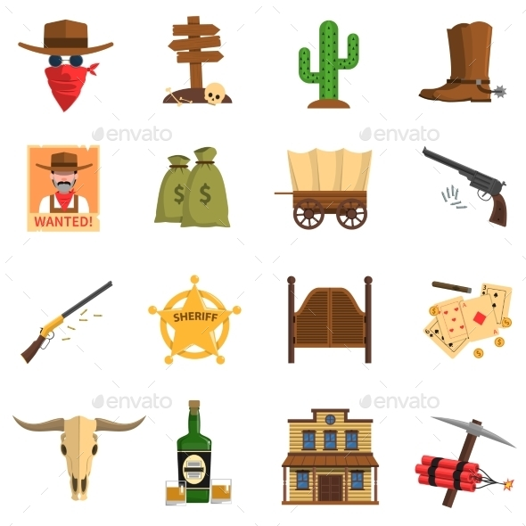 Cowboy Icons Set - Miscellaneous Icons