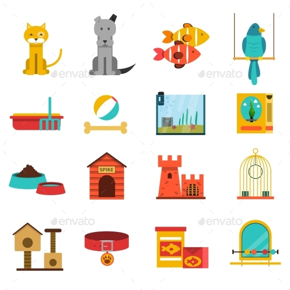 Pets Icons Set - Animals Characters