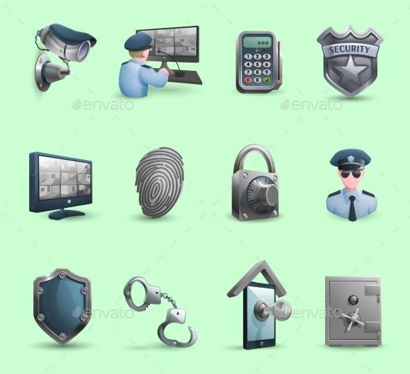 Security Symbols Icons Set  - Decorative Symbols Decorative