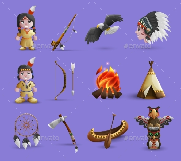 Native American Cartoon  Icons - Decorative Symbols Decorative