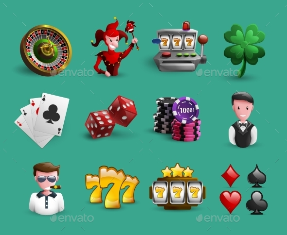 Casino Cartoon Icons Set - Miscellaneous Conceptual