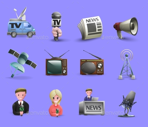Mass Media Icons Set - Web Elements Vectors