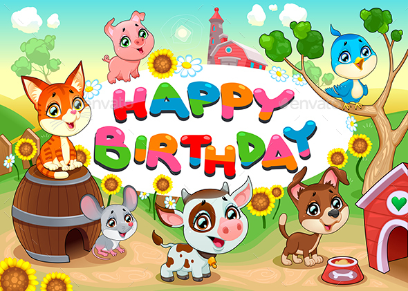 Happy Birthday Card with Farm Animals - Birthdays Seasons/Holidays