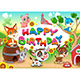 Happy Birthday Card with Farm Animals - GraphicRiver Item for Sale
