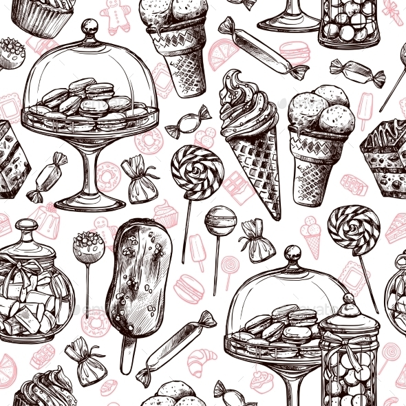 Sweets Seamless Pattern - Food Objects