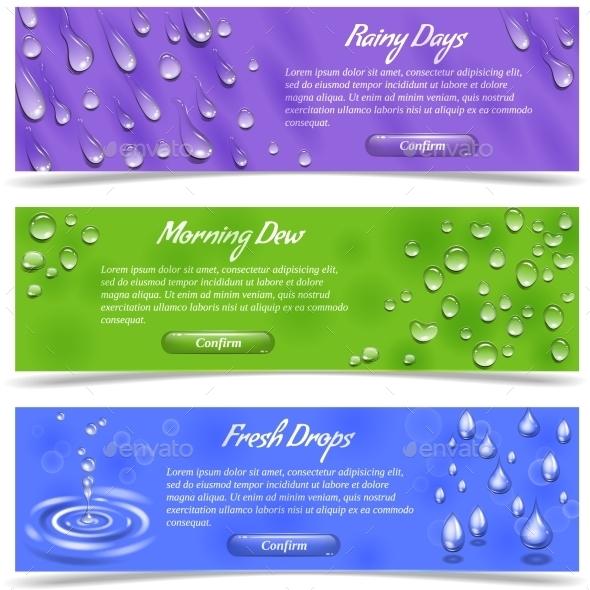 Water Drop Banner Set - Seasons Nature