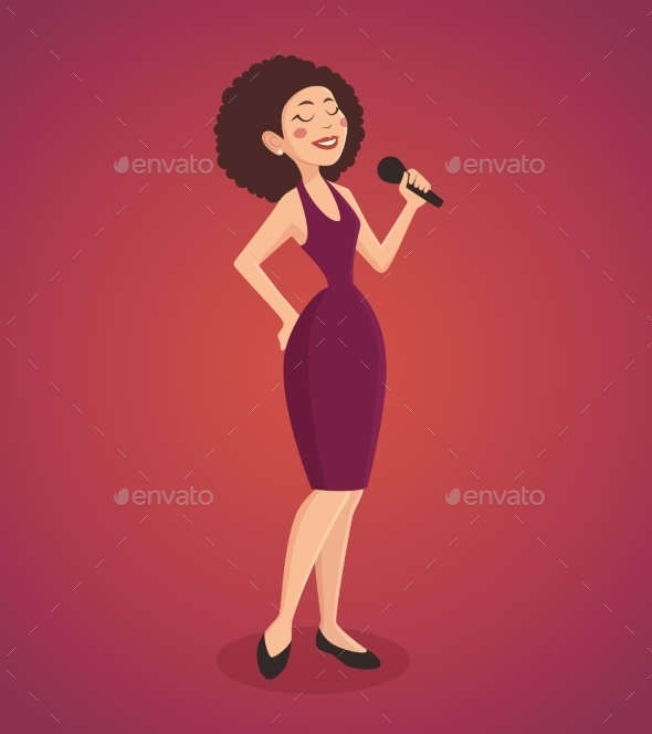 Singer Woman Illustration  - People Characters