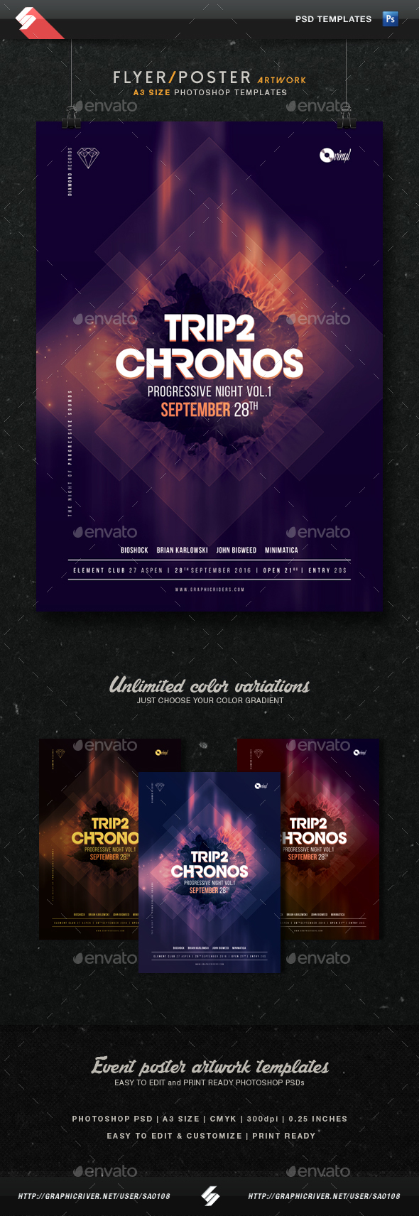 Chronos - Progressive Sound Flyer Template A3 - Clubs & Parties Events