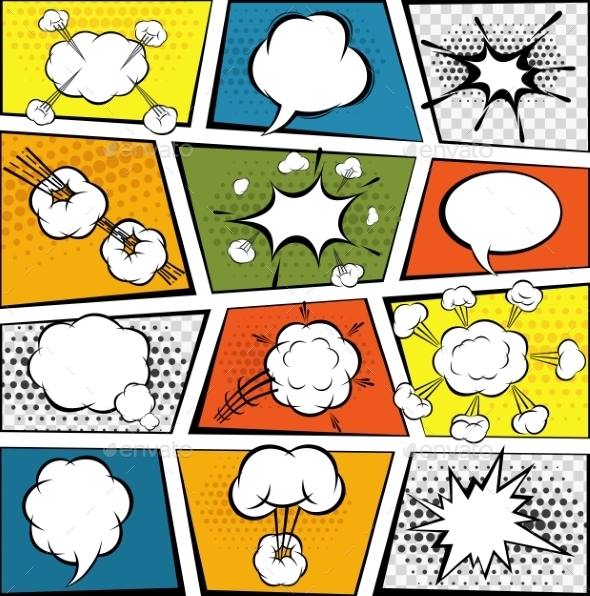 Comic Speech Bubbles Set - Backgrounds Decorative