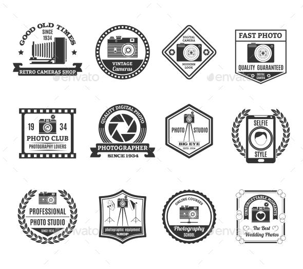 Photography Black White Emblems Set  - Media Technology