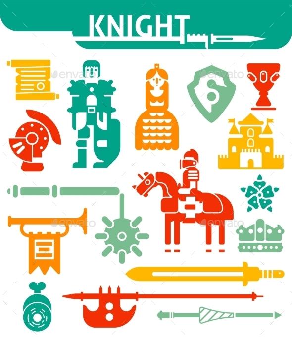 Set of Monochrome Icons Knight - Decorative Symbols Decorative
