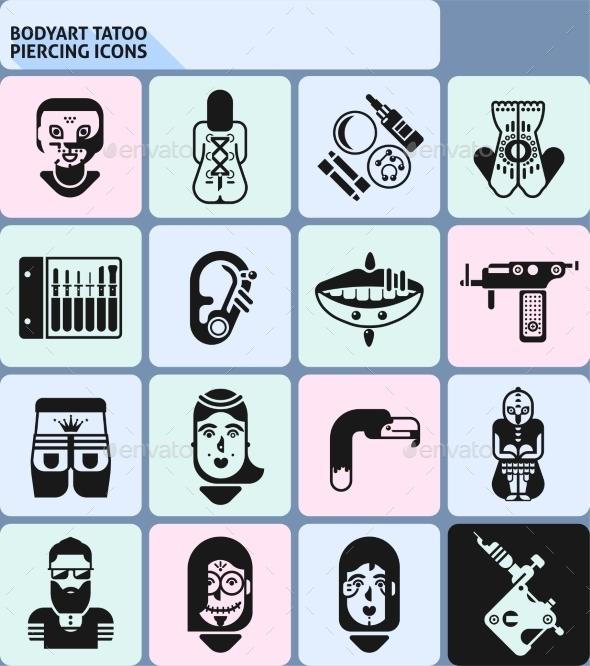 Bodyart Tatoo Piercing Icons - Miscellaneous Icons