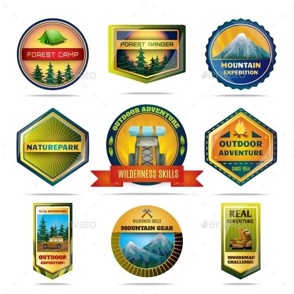 Camping Emblems Set - Decorative Symbols Decorative