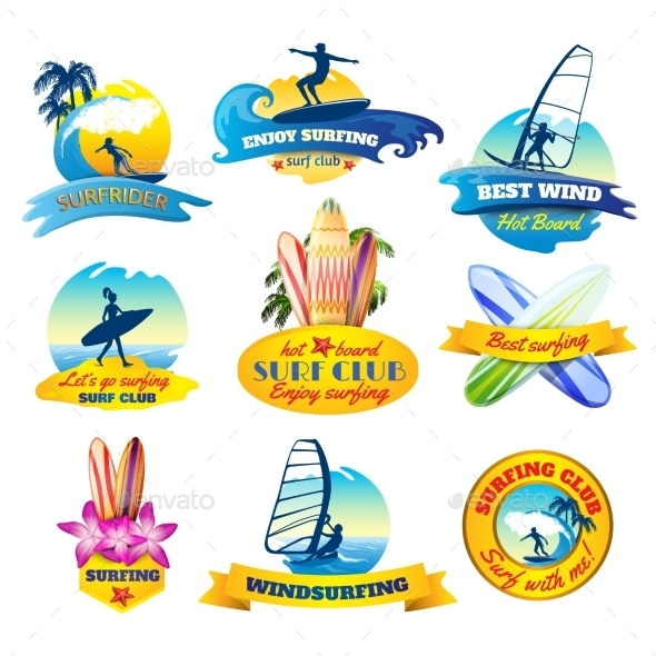 Surfing Emblems Set - Sports/Activity Conceptual