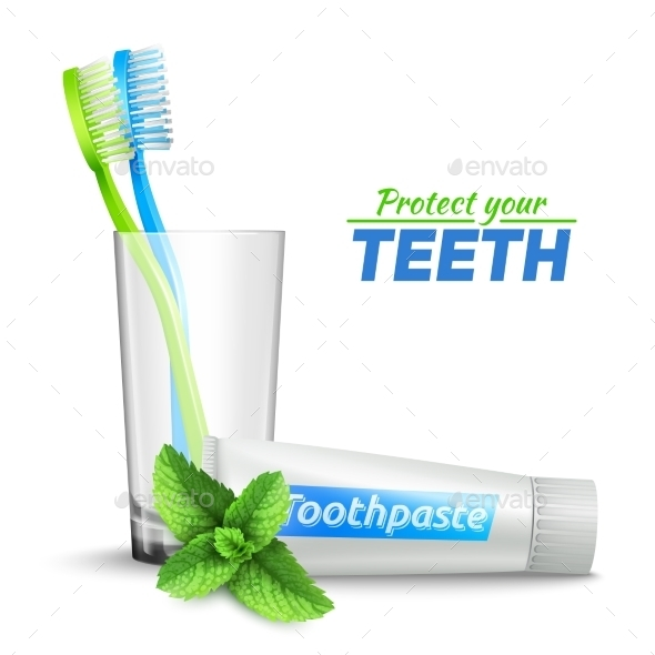 Toothbrushes in Glass and Toothpaste - Health/Medicine Conceptual