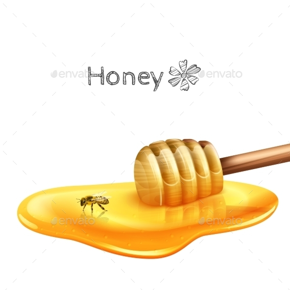Honey Puddle with Stick - Food Objects