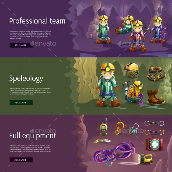 Speleology Interactive 3d Banners Set - Sports/Activity Conceptual