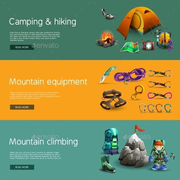 Climbing Interactive 3d Banners Set - Travel Conceptual