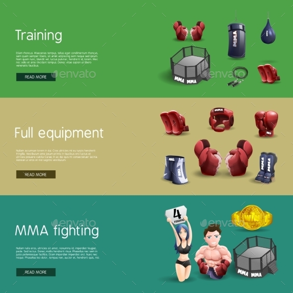 MMA Fighting Interactive 3d Banners Set - Sports/Activity Conceptual