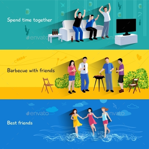 Friends Buddies 3 Horizontal Banners Set - People Characters