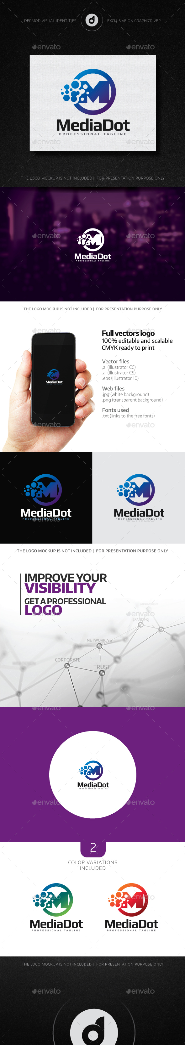 Media Dot Logo - Letters Logo Templates