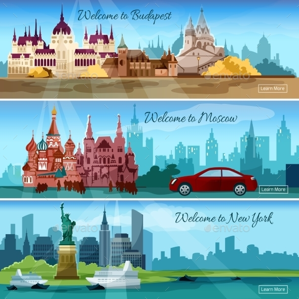 Famous Cities Banners - Travel Conceptual