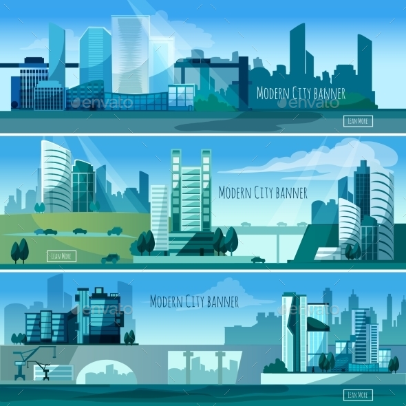 Modern Cityscapes Banners - Buildings Objects