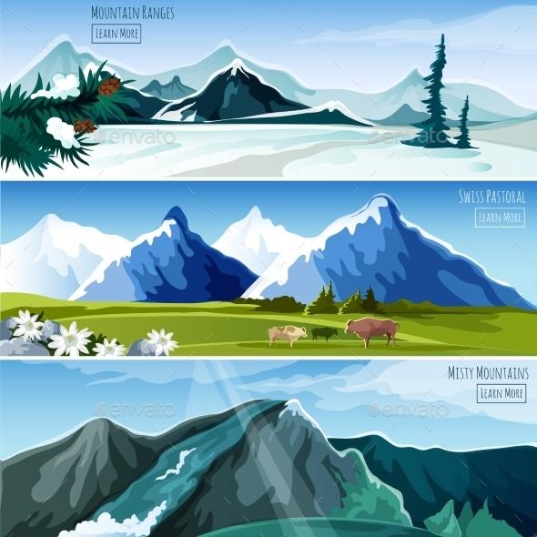 Mountain Landscapes Banner Set - Landscapes Nature