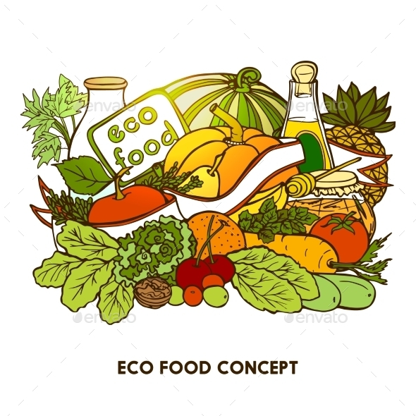 Hand Drawn Eco Food Concept - Food Objects