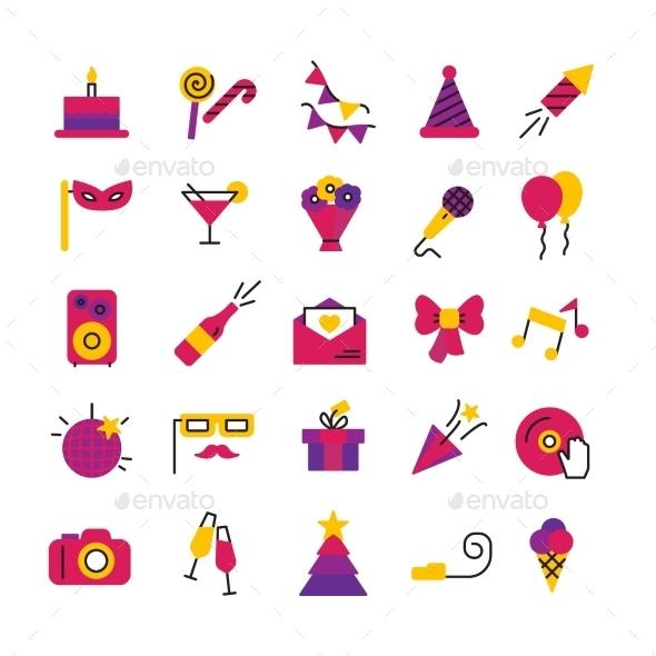 Celebration Party Icons Set - Web Icons