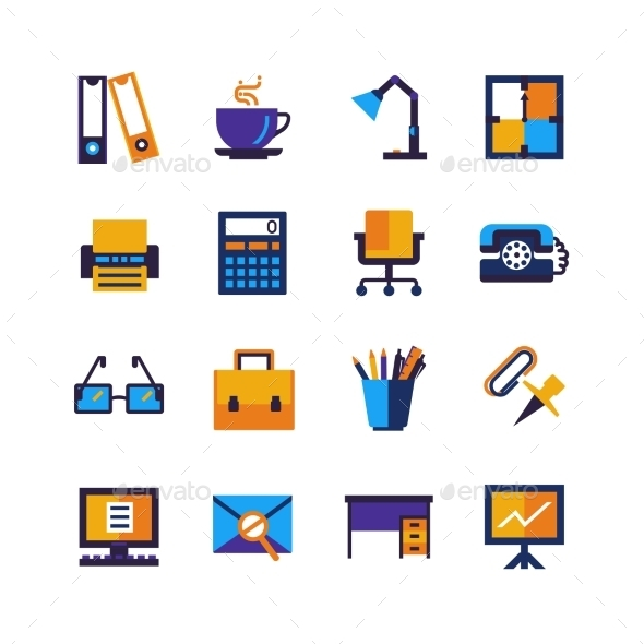 Color Office Isolated Icons Set - Business Icons
