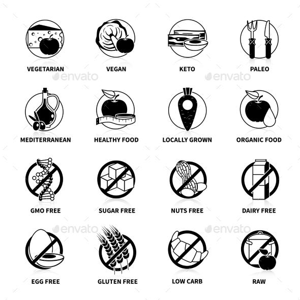 Black Diets Pictogram Set - Food Objects