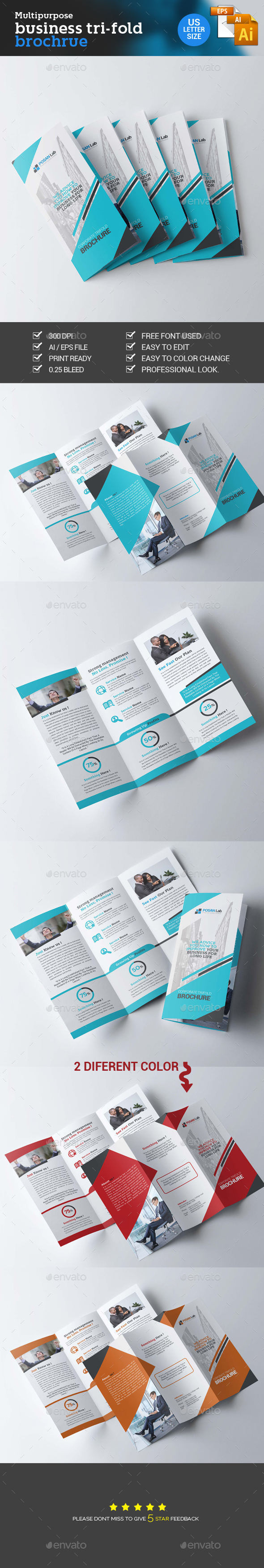 Trifold Corporate Brochure - Brochures Print Templates